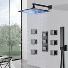 Block Mount Oil Rubbed Bronze Shower Faucet LED Rainfall With  Mixer Valve Combo
