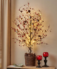"""39"""" Woodland Forest Country Berries Christmas Holiday Decor Lighted Half Trees"""