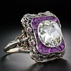 Vintage Turkish Handmade Jewelry Antique Silver White Sapphire Ladies Ring