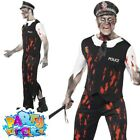 Mens Zombie Policeman Costume Cop Police Man Halloween Fancy Dress Outfit
