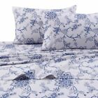 Printed Flannel 4 Piece Floral Sheet Set by Tribeca Living - Blue image