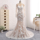 Sexy Long Wedding Dresses Long Sleeve Train Mermaid Appliques Bridal Gown Dress