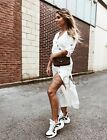 ABSOLUTELY MUST HAVE OFF WHITE MIDI DRESS WITH BUTTONS  M  8 10 SOLD OUT