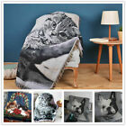 Lovely Animal Cat Dog Pattern Fringed Throw Knitted Soft Blanket Sofa Bed Cover