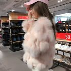 Womens 100% real rabbit fur coat Fashion winter fox fur jacket round neck warm