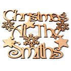3mm MDF Personalised Christmas At The Surname Xmas Plaque Gift