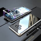 For Samsung Note 9 S9 S8 S9+ Magnetic Adsorption Tempered Glass Back Case Cover