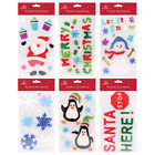Christmas Window Stickers Xmas Santa Removable Gel Decal Wall Home Shop Decor