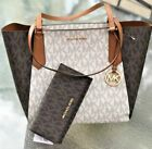 Michael Kors Kimberly Top Zip MK Signature Vanilla Brown Large Tote Bag + Wallet