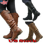 Women Knee High PU Leather Flat Boots Ladies Mid calf Biker Slouch Boots Shoes