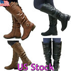 Women Retro Zip Leather Pleated Biker Boots Ladies Flats Shoes Ankle Boots US