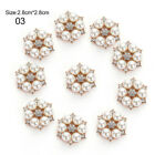 10x/Set DIY Alloy Flower Rhinestones Buttons Pearl Button Party Decor Costume