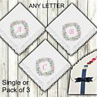 Ladies White Lace Handkerchiefs Personalised Flower Wreath Initials Letter Bride