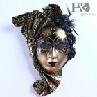 Full Face Venetian Jester Mask Masquerade with Flower Mardi Gras Wall Decorative