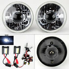 """7"""" Round 8K HID Xenon H4 Clear Projector Glass Headlight Conversion Pair Plymout"""