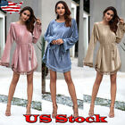 Women Velvet Casual Long Sleeve Tassel Mini Dress Evening Party Cocktail Dresses