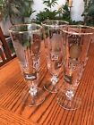 "3 VINTAGE Frosted Hotel Inn Theme STEM BAR BEER GLASS 8.5"" Tall"