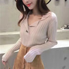 New Autumn Winter Women Pullover Turn-down Collar V Neck Knit Sweater Top Blouse