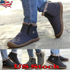 USA Mens Winter Warm Fur Lining Ankle Boots Slip On Waterproof Casual Snow Shoes