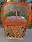 Mexican Equipale Twig Back and Leather Chair 007B