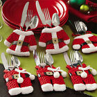 12xSanta Claus Suit Christmas Cutlery Holder Silverware Pockets Bag Decorations