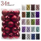 Christmas Ball Ornaments Shatterproof Decorations 34ct Tree Balls Small RED