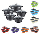 5PC NON STICK DIE CAST OVEN HOB CASSEROLE DISH STOCKPOT COOKING PAN COOKWARE SET