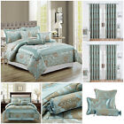 Jacquard 3 Piece & 7 Piece Quilted Bedspread Set Duck Egg With Matching Curtains image