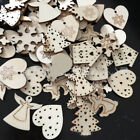 100x Wooden Christmas Tree Hanging Ornaments Decor Wood Embellishments Craft DIY