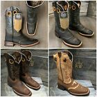 MEN'S RODEO COWBOY BOOTS GENUINE LEATHER WESTERN SQUARE TOE BOOTS BROWN