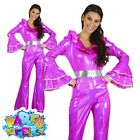 Ladies 1970s Disco Jumpsuit Abba Fancy Dress Adults Costume Womens Outfit