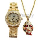 Iced Out 6ix9ine Saw Inspired Necklace & Hip Hop Gold plated Metal Watch Set image