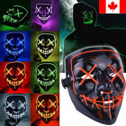 Scary Halloween Mask Cosplay Led Costume Mask EL Wire Light Up The Purge Movie <br/> 3 Modes&radic; 10 Colors&radic; 2018 NEW Devil Cosplay &radic;CANADA POST