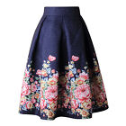 HimanJie Vintage Retro Floral Print Skirts Womens High Waist Rockabilly Pleated