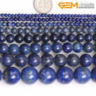 Natural Round Blue Lapis Lazuli Gemstone Loose Beads For Jewellery Making 15""