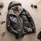 Mens Hooded Fur Lining Removeable Hooded  Warm Parka Outwear Leather Coat Jackte