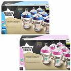 Baby Feeding Bottle 260ml Decorated Pack Pink/Blue 6 Tommee Tippee Closer Nature