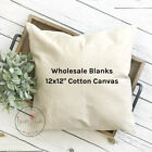 12x12 Wholesale Blank 10 oz. Cotton Canvas Throw Pillow Cover - WHITE or NATURAL