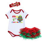 Newborn Baby Girls Christmas Romper Skirt Headband Clothes Set for Xmas Party