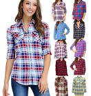 Внешний вид - Inso Women's Plaid Flannel Checkered Long Sleeve Cotton Button Down Shirts NEW