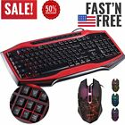 LOT 1-20 Gaming Keyboard W/ Mouse Combo with Colorful LED Backlit Black & Red MA