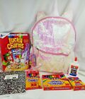 """Unicorn 2-Way Sequins Critter 16"""" Backpack Lucky Charms Crayon Elmer glue marker"""