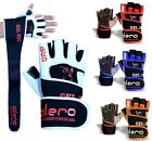 ISLERO Leather Weightlifting Gloves Gym Straps Wrist Support Wraps Cycling GEL