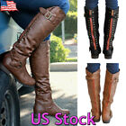 Women Knee High Buckle Fashion Military Combat Boots Riding Style With Zipper US