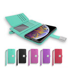 For Apple iPhone XR Leather double Folio Card Holder ID frame Wallet Cover Case