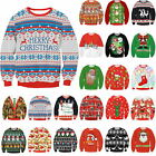 Unisex Ugly Christmas Sweater Vacation Santa Elf Funny Womens Men Sweatshirt Top