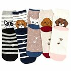 Losa Kute 5 Pairs Women Crew Socks Casual Cute Cotton Cat Dog Socks Long Ankle