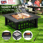 Lare Outdoor Fire Pit BBQ Firepit Brazier Garden Square Stove Patio Heater HOM G