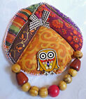 Handcrafted Fabric Brooch  Painted Button And Beads OneOf A Kind From Artist