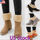 USA Winter Womens Suede Warm Snow Martin Boots Fur Thicken Mid Calf Ankle Shoes